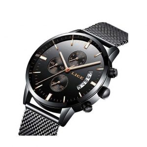 Reloj elegante de hombre con malla milanesa