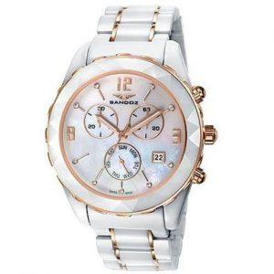 Reloj Sandoz mujer blanco y zafiro